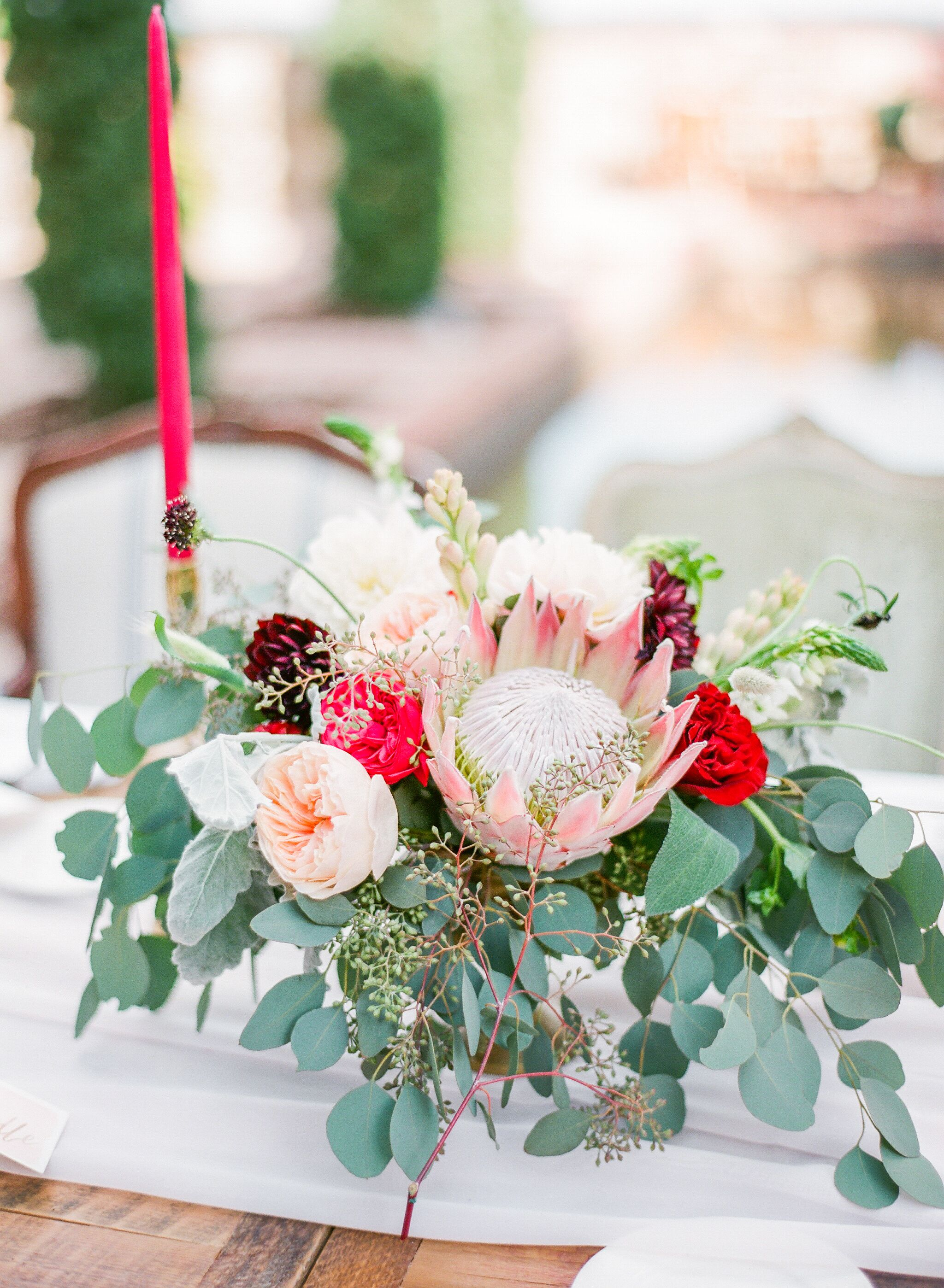 King Protea Garden Rose And Eucalyptus Centerpieces