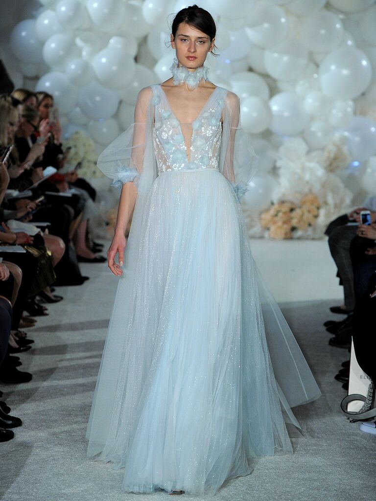 Mira zwillinger spring 2018 collection bridal fashion week photos mira zwillinger spring 2018 powder blue v neck tulle caviar beaded and appliqud bodice with ombrellifo Gallery