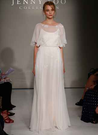 Jenny Yoo Fall 2016 wedding dress sheer top with flowing sleeves and lace details and flowing skirt with lace details