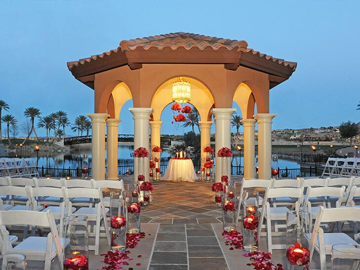 sunset lakeside wedding at Lake Las Vegas