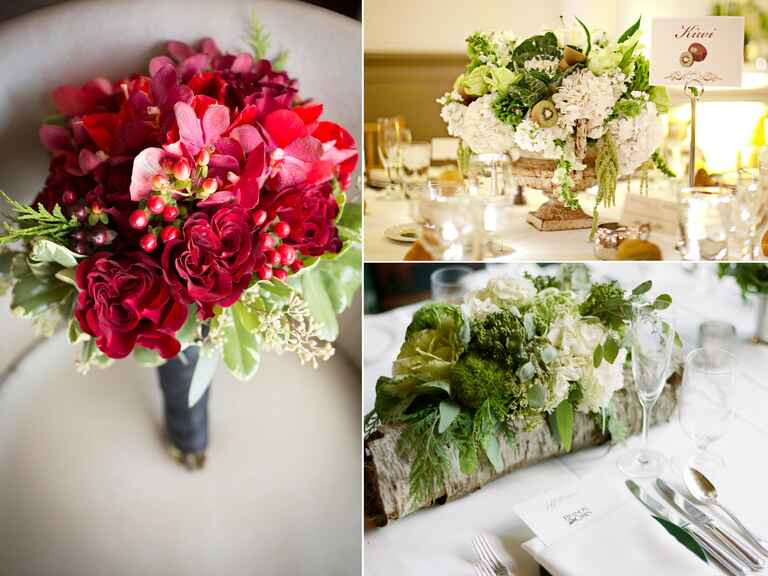 Wedding florals with fruit accents