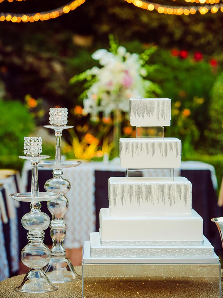 Glamorous white wedding cake with crystals