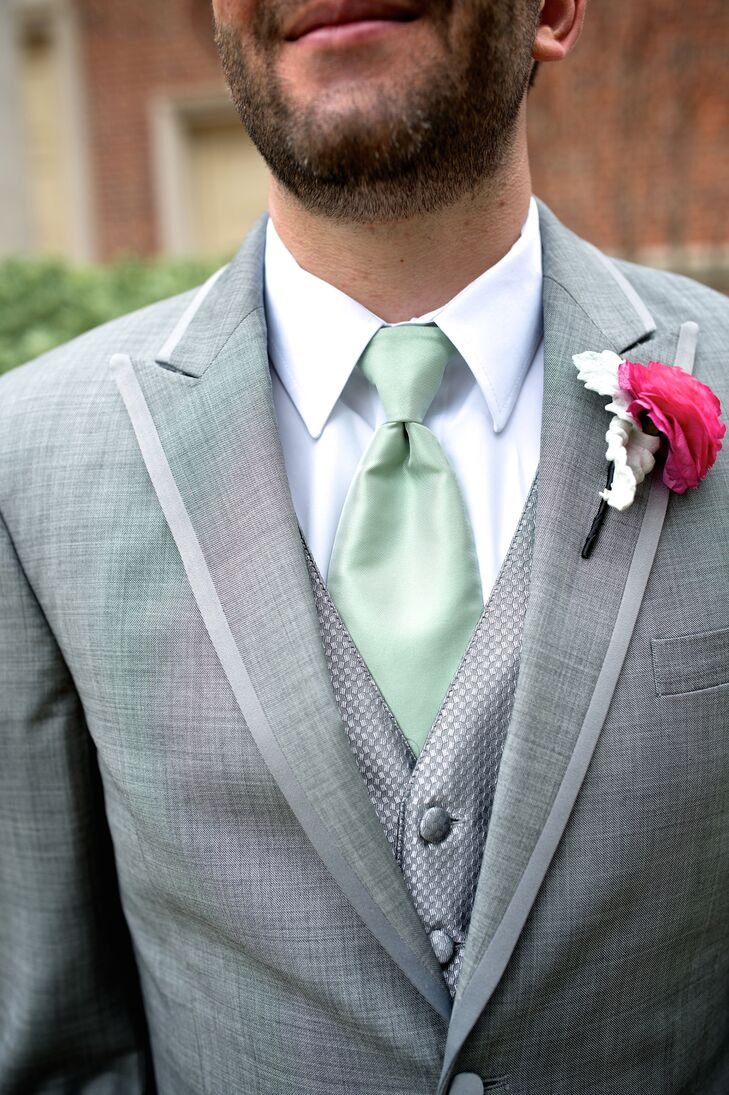 Gray Wedding Suit With Mint Tie and Fuchsia Boutonniere