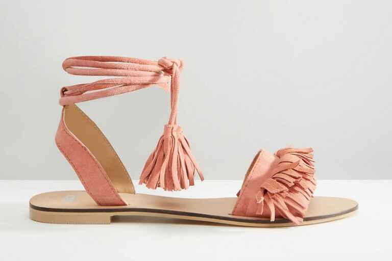 ASOS Flashy Suede Tie Leg Fringe Sandals