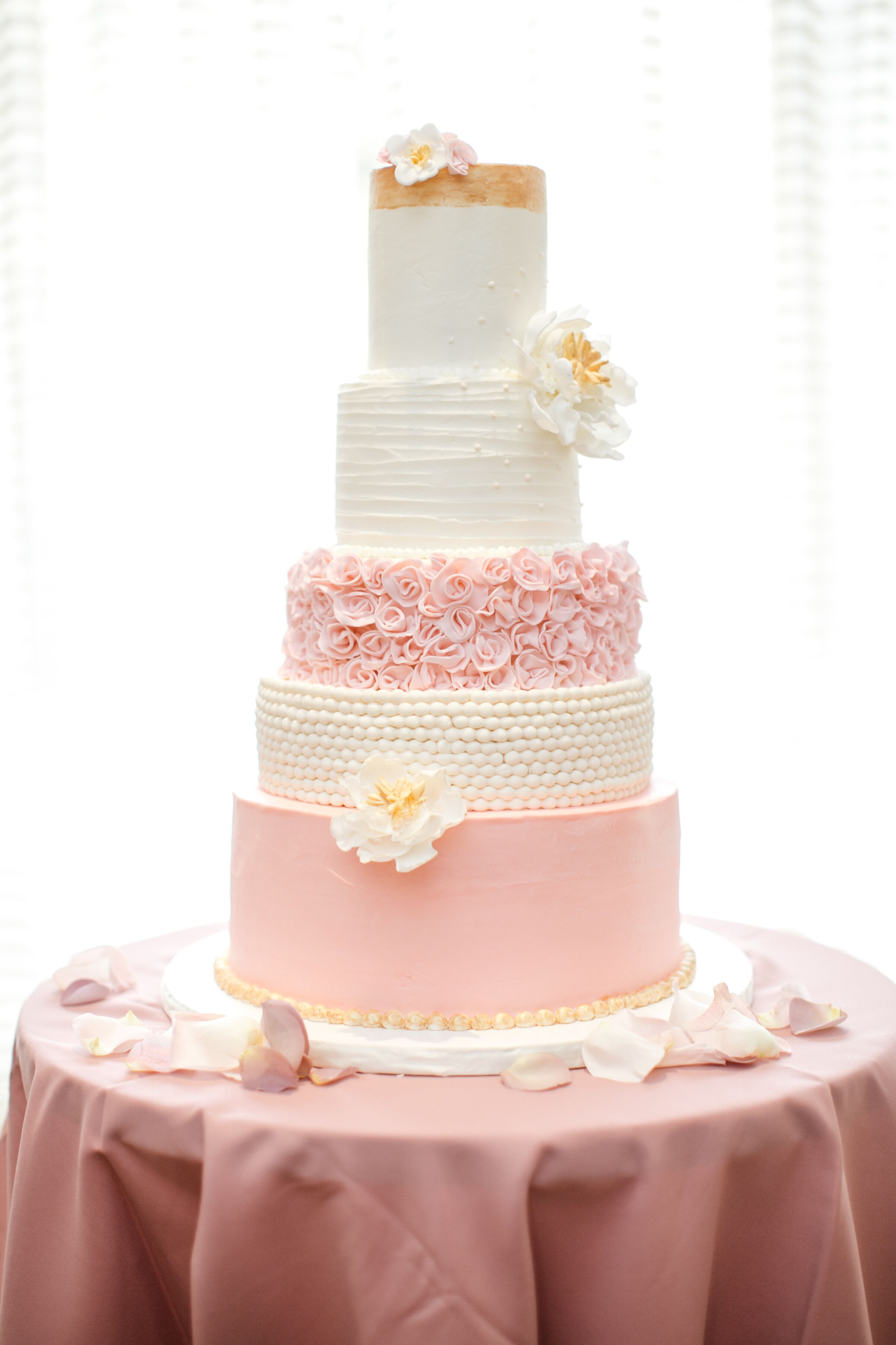 rose gold and blush wedding cakes five tier blush and gold wedding cake 19265