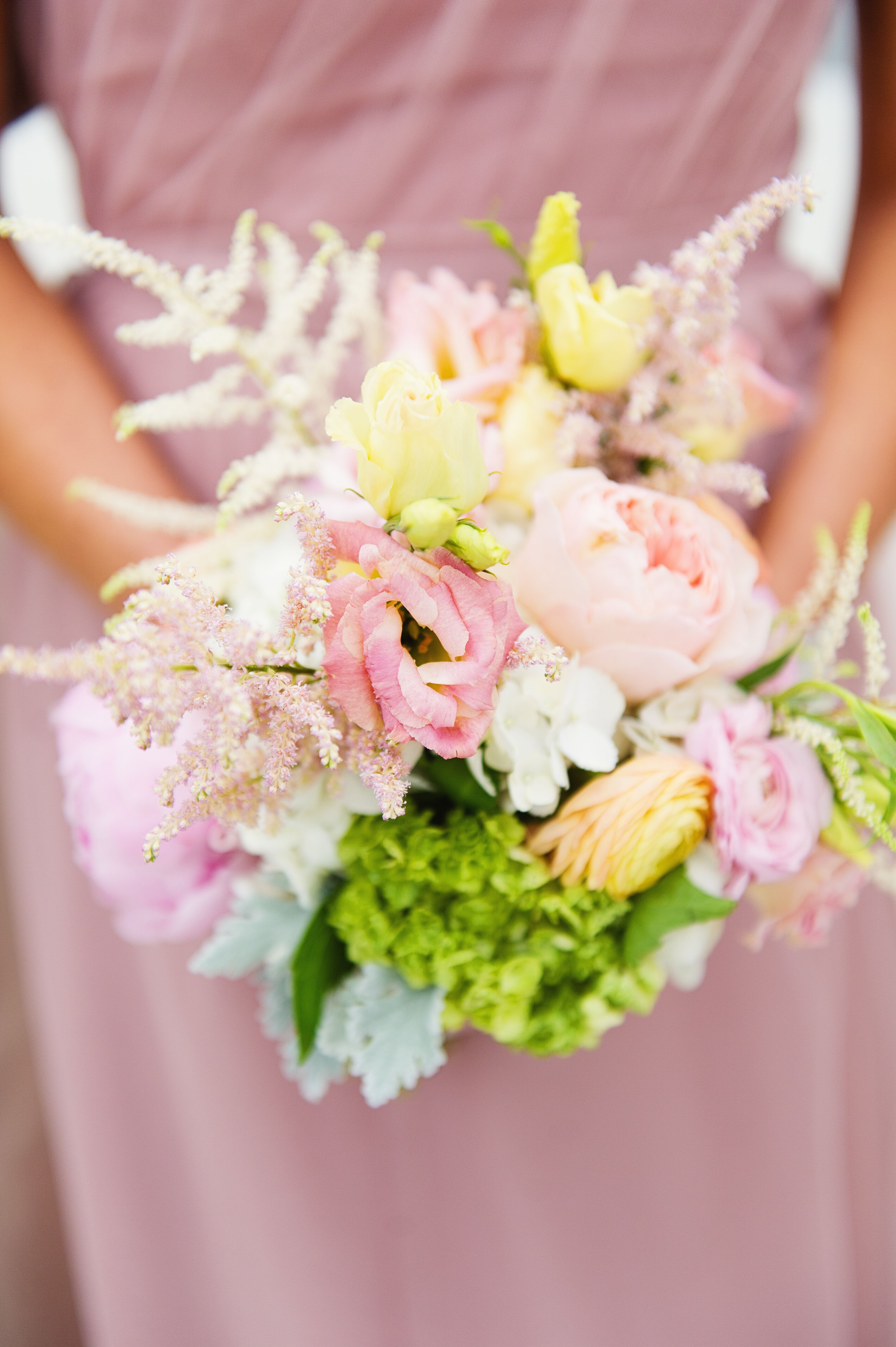 Pink Lisianthus Blush Astilbe Bridesmaid Wedding Bouquet