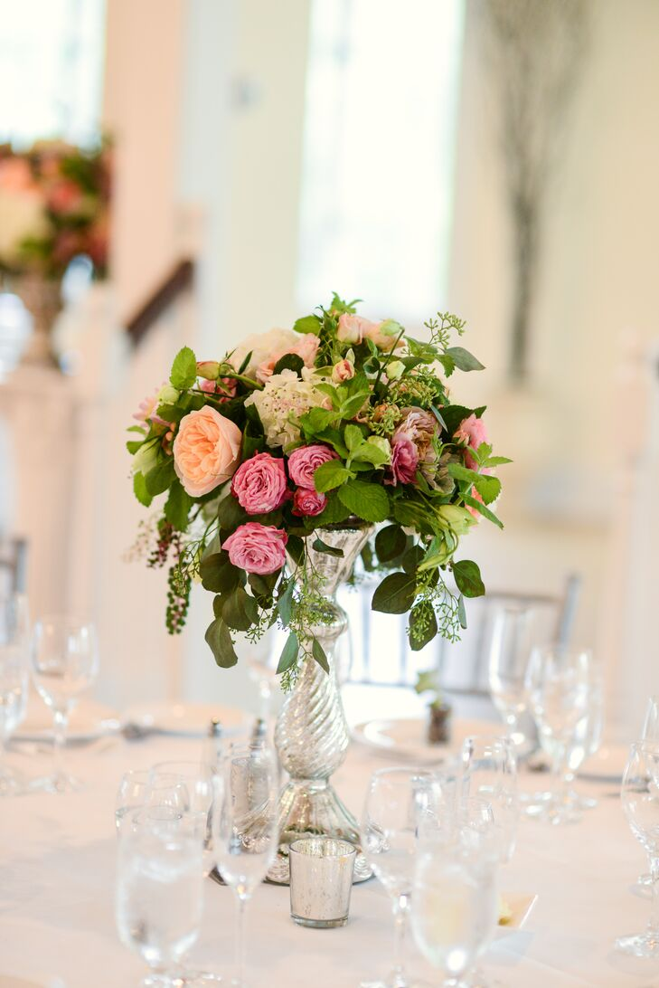 Garden rose and mint centerpiece