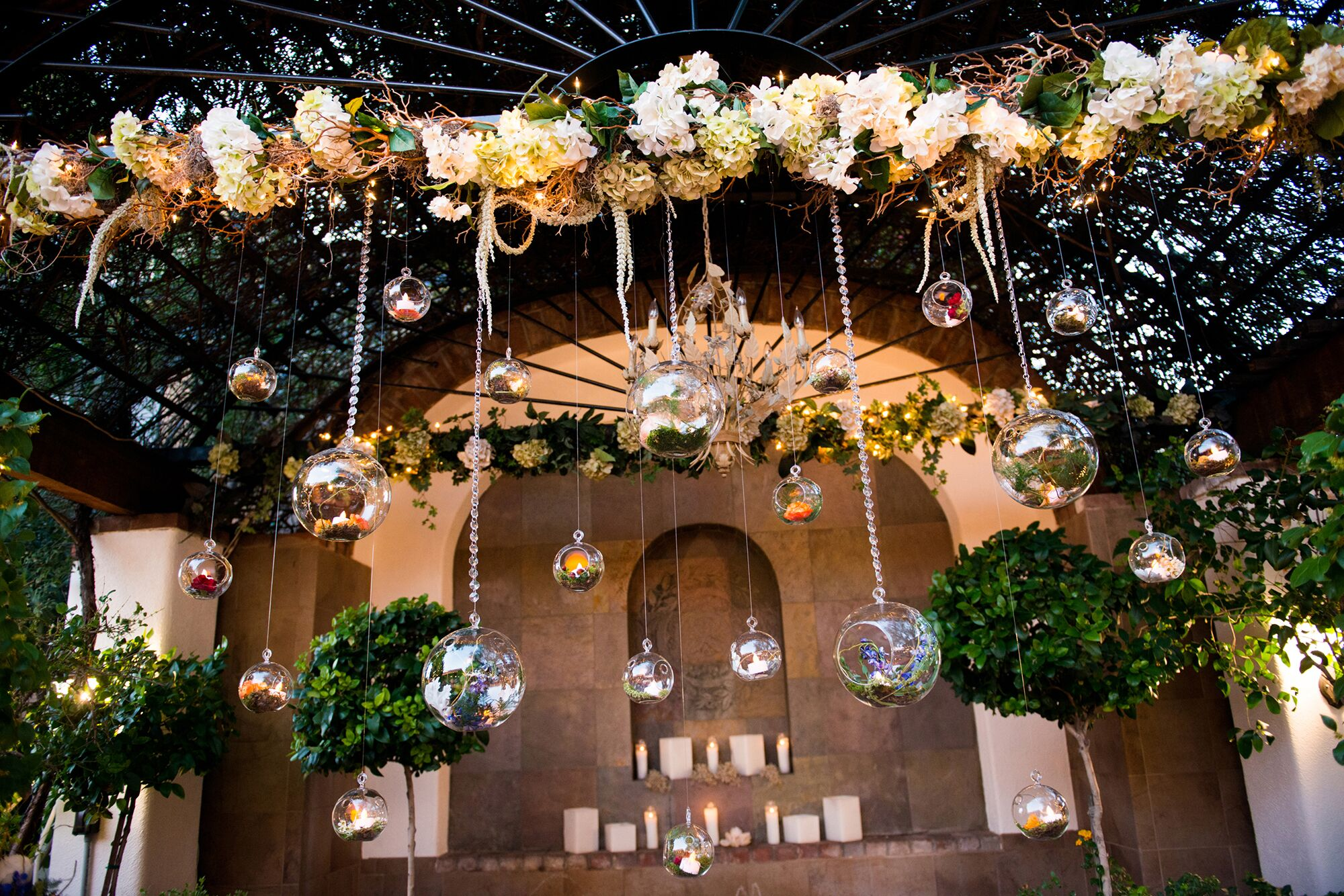 Hanging Glass Bauble Wedding Ceremony Altar