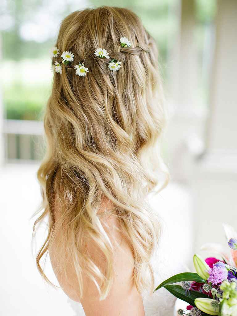 17 wedding hairstyles for long hair with flowers. Black Bedroom Furniture Sets. Home Design Ideas