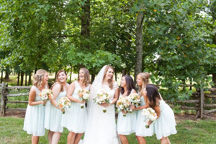 Caitlyn's bridesmaids wore short, A-line mint dresses from Anthropologie with illusion straps that was flattering on all of them.