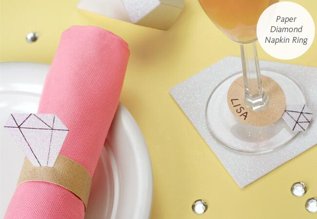 diamond ring shaped paper napkin ring and wine glass tag