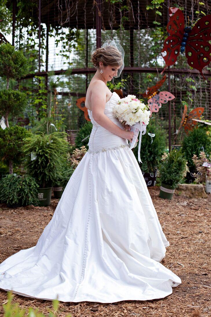 Strapless, Silk, Drop Waist Wedding Dress with Bustle Skirt and ...