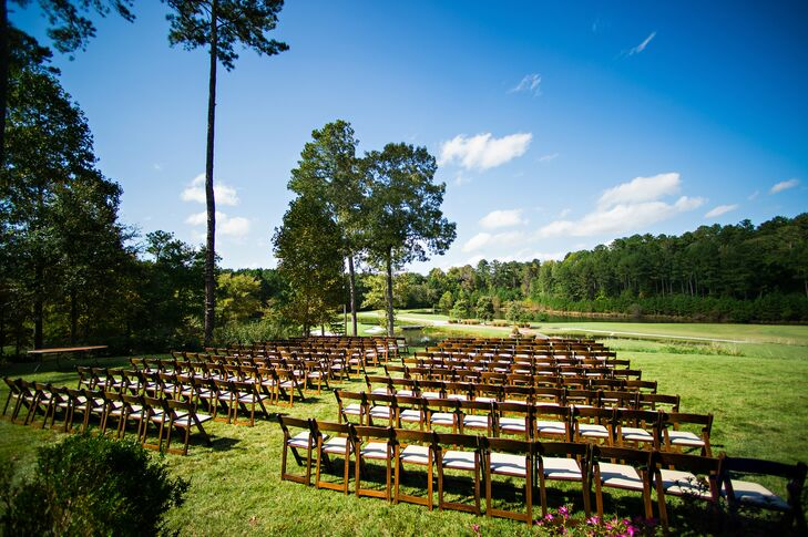 The River Club's grounds are green and gorgeous, surrounded by piney forests that just feel like Georgia. Wooden ceremony chairs added to the natural aura of Annslee and Alex's ceremony spot.