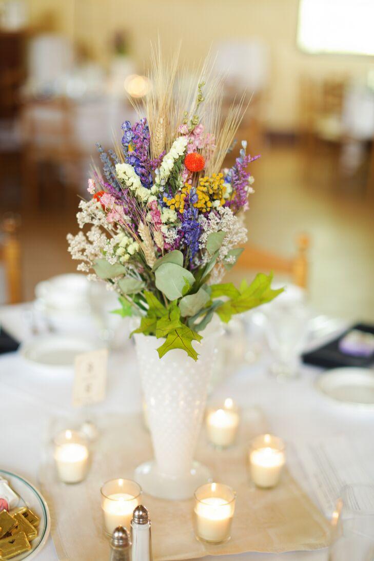 Dried Wildflowers In Milk Glass Vase Centerpiece