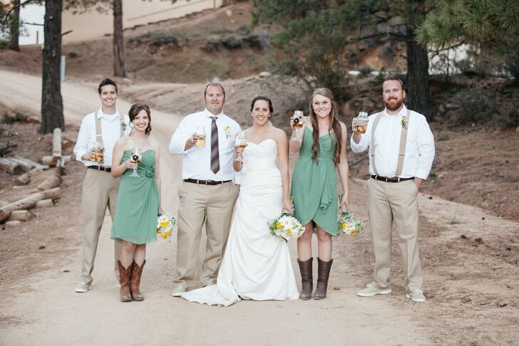 Clover Green Bridesmaid Dresses With Cowboy Boots