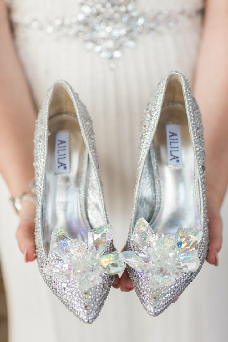 Cinderella-Inspired Silver Wedding Shoes