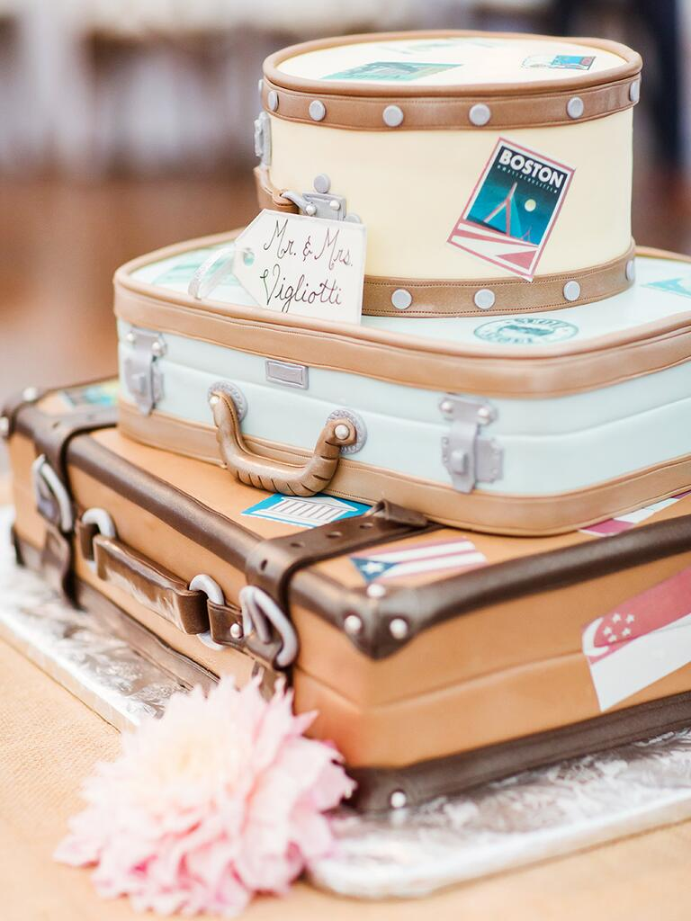 Wedding cake shaped like honeymoon luggage