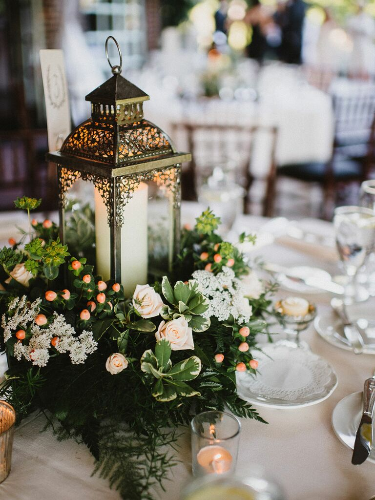 Elegant wedding centerpieces - Elegant Wedding Centerpiece With Vintage Lanterns And Greenery