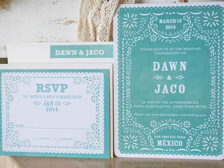 Turquoise Papel Picado inspired wedding invitations