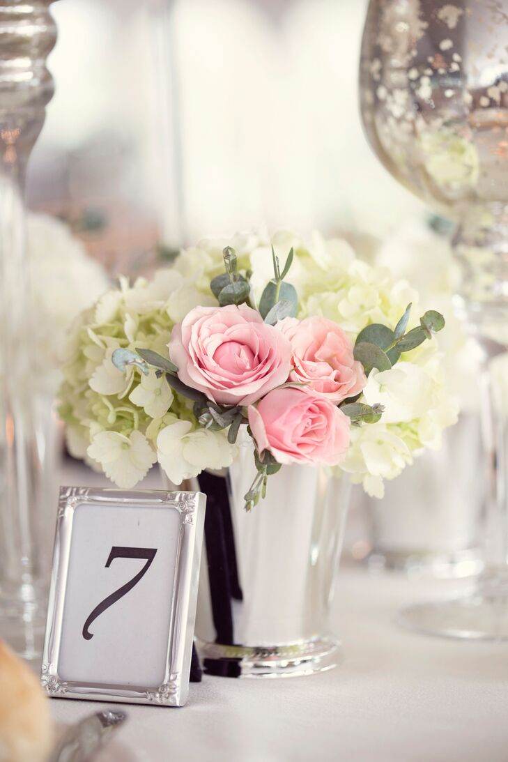 Pink rose and white hydrangea floral centerpiece