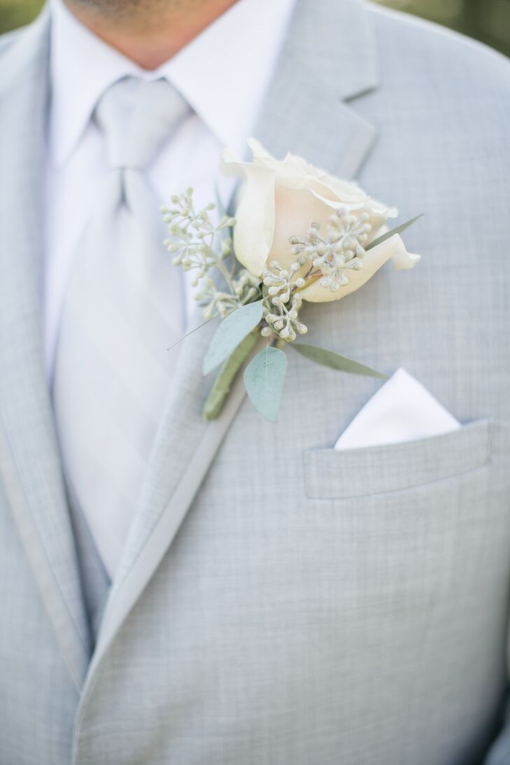 Ivory Rose and Seeded Eucalyptus Boutonniere