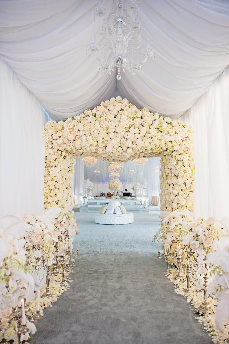 Karen Tran's flower-covered wedding reception entryway