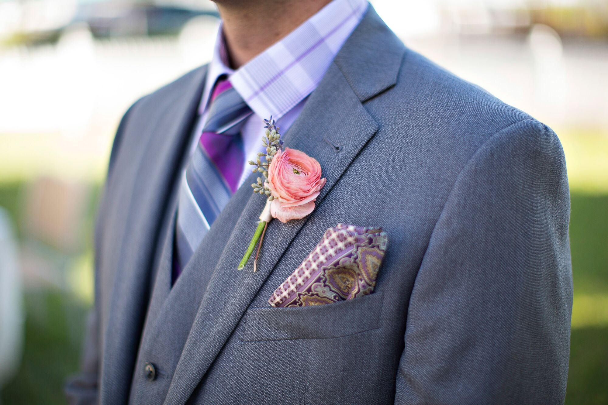 Peach Ranunculus Boutonniere And Purple Pocket Square