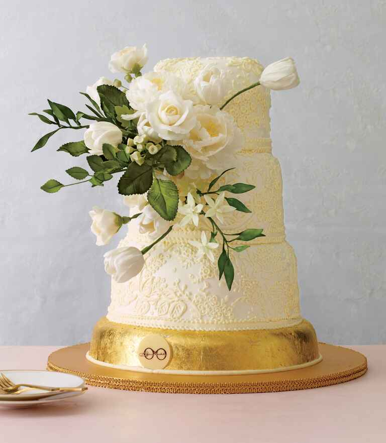 White and yellow simple three tier wedding cake