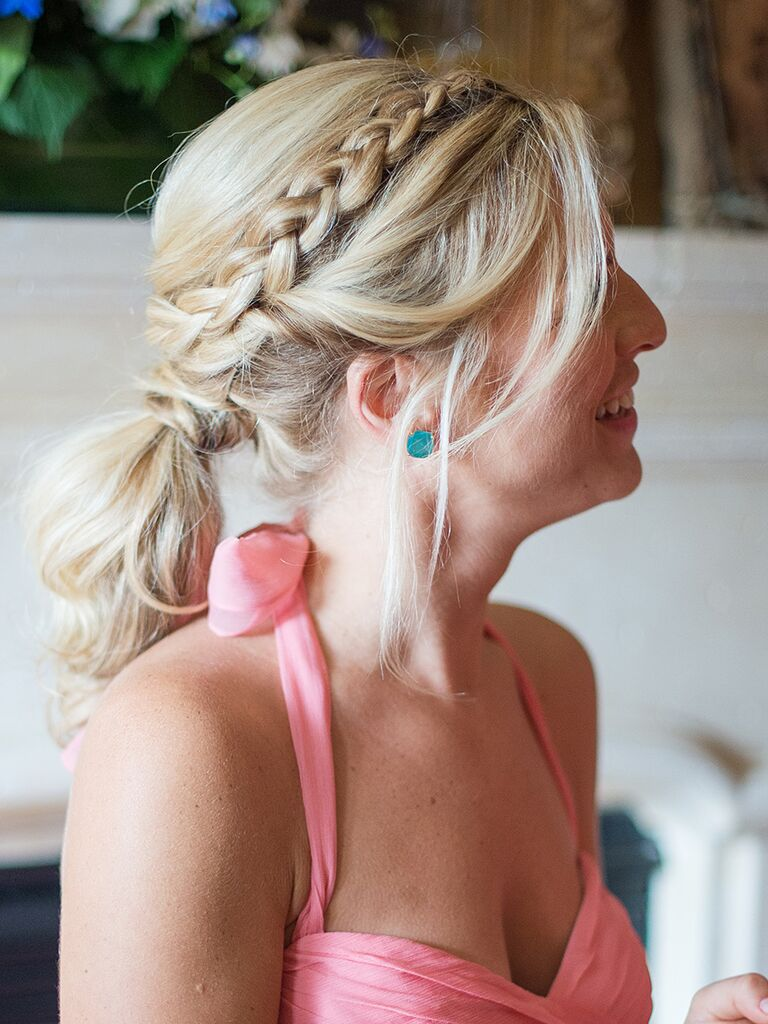Messy bridesmaid hairstyle with a braid