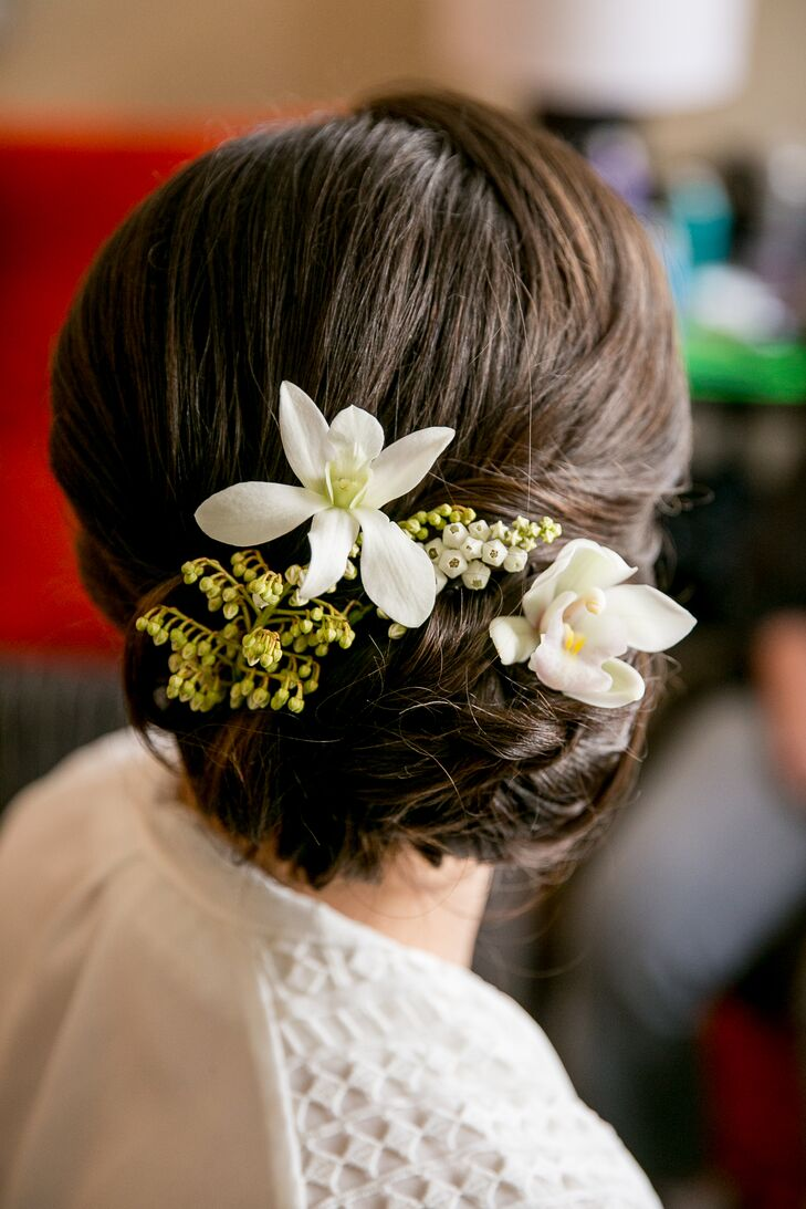 Elegant updo with white flowers mightylinksfo