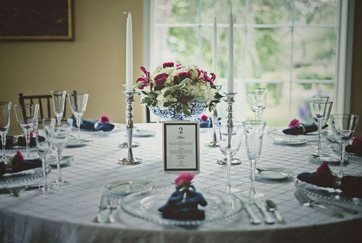 Fuchsia pink roses added a great pop of color to the wedding.