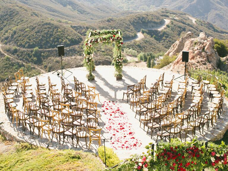 Chairs arranged in a semi-circle for ceremony
