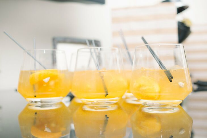 Signature drinks in bright punchy colors complemented the day's cheerful color palette.