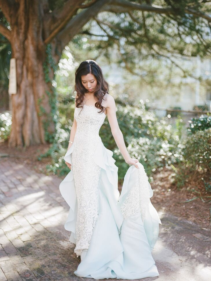 Oscar de la Renta Sheath Pale Blue Wedding Dress
