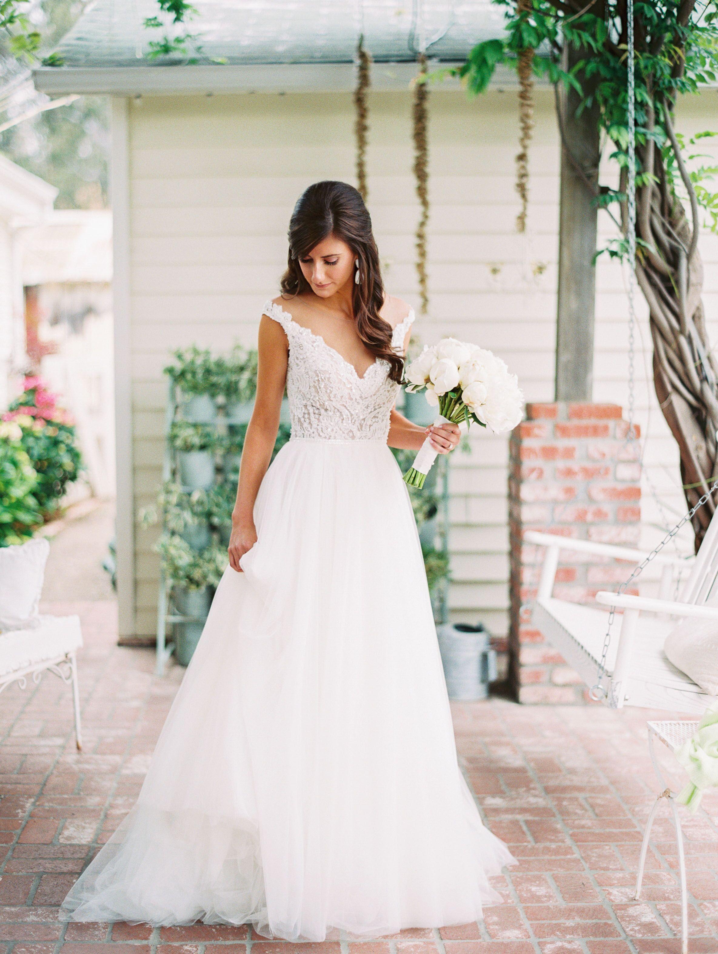 Ivory Lace V Neck Watters Wedding Dress