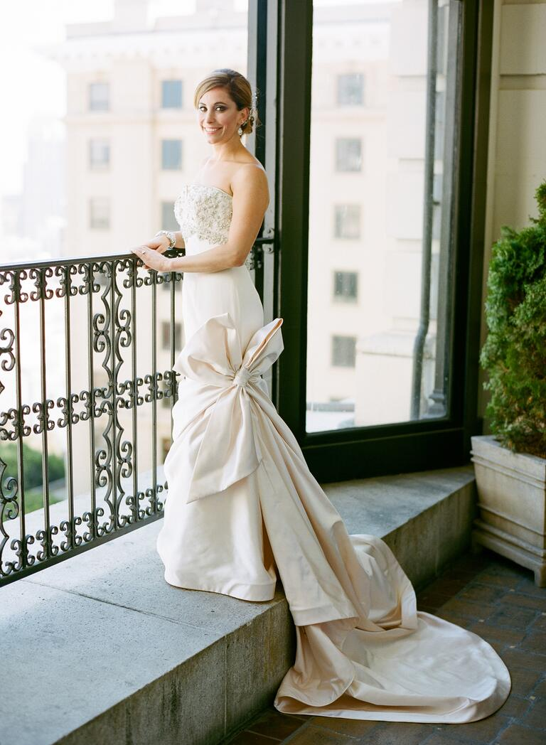 Bridal portrait session at window