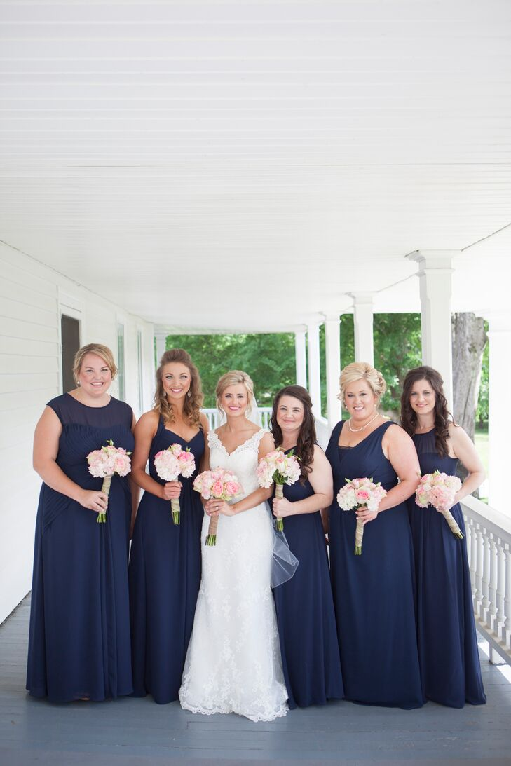 Long navy bridesmaid dresses with different necklines ombrellifo Image collections