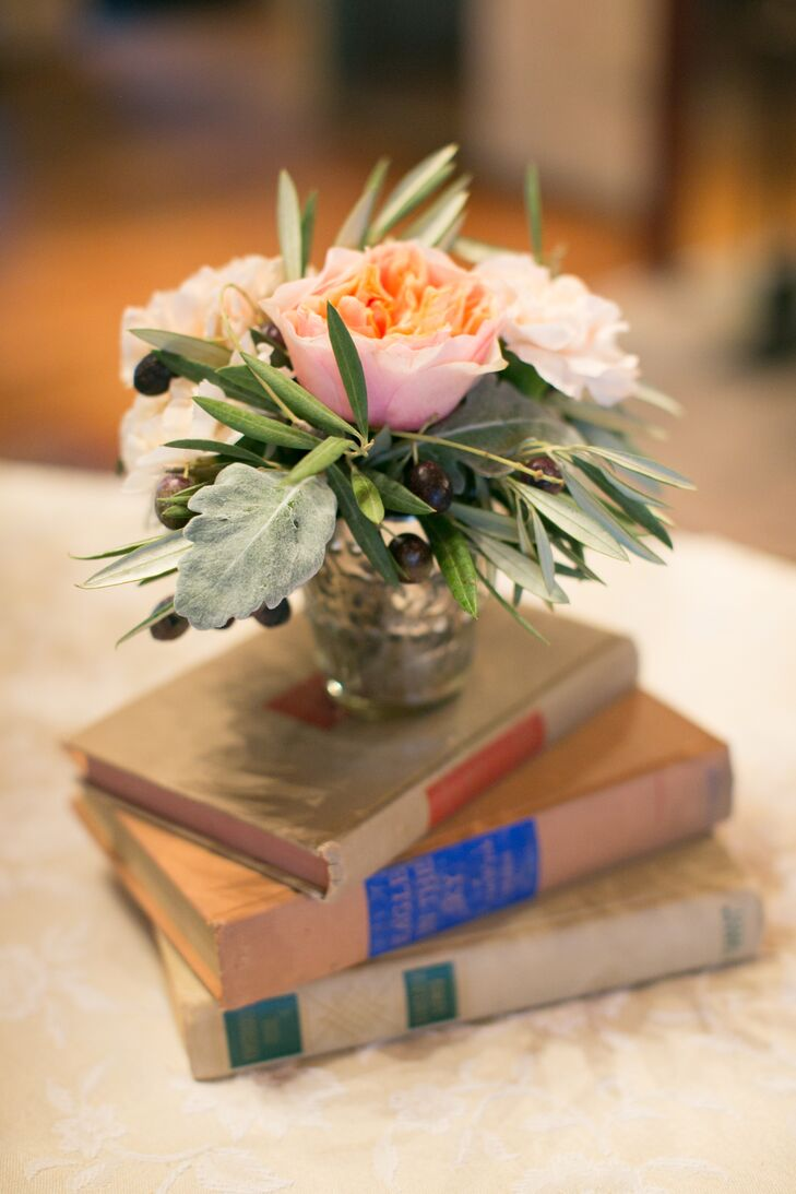 Garden Rose, Olive Leaf and Vintage Book Centerpieces