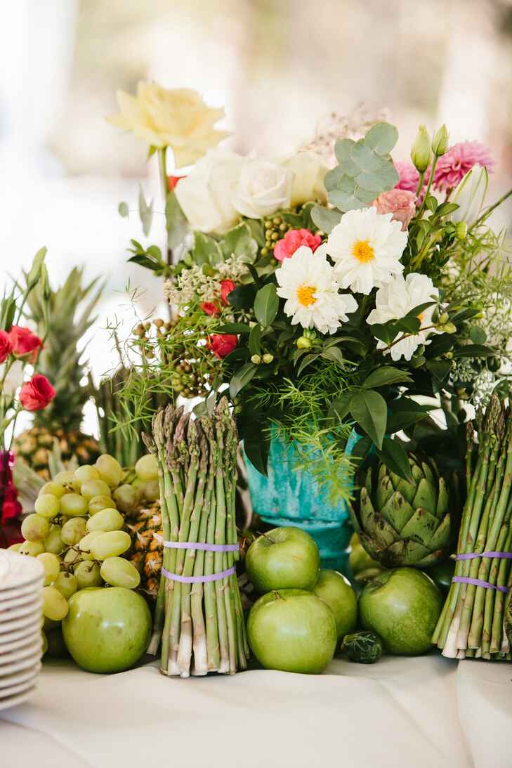 Fruit, vegetable and floral centerpiece