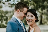 Jen Kwon (27 and a content strategist) and Ryan O'Connell (30 and a sales executive)  highlighted their picturesque outdoor venue with refined décor a