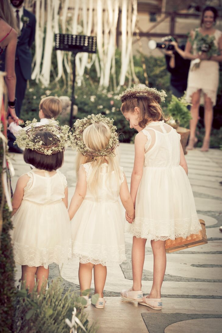 Ivory Flower Girl Dresses And Crowns