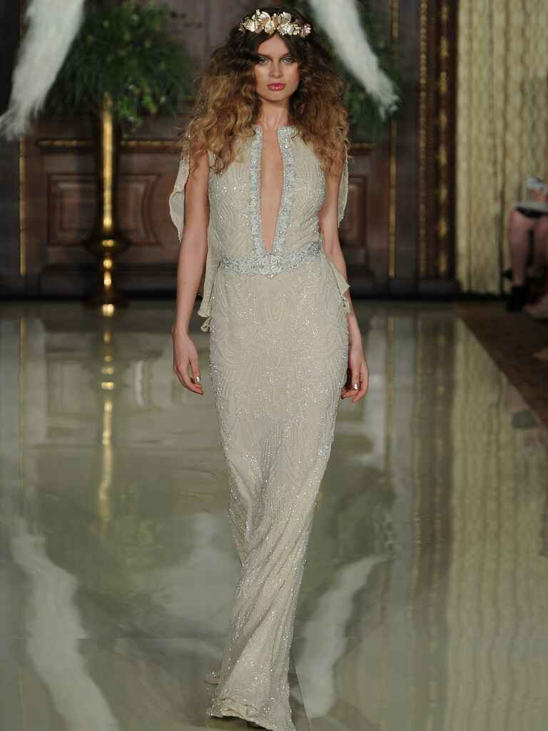 Galia Lahav neutral wedding dress with plunging v-neck and flowing cape back from Spring 2016