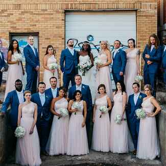 Wedding party in an industrial area