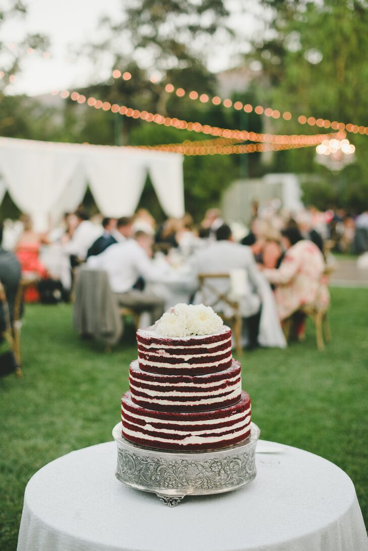 "Brittany and Robert chose a ""naked"" unfrosted cake in red velvet, their favorite flavor."