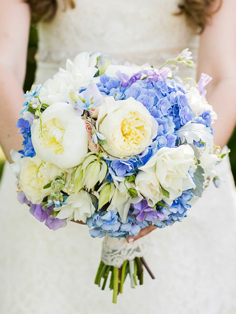 Blue And White Wedding Bouquet With Peonies Roses Irises Tweedia Hydrangeas