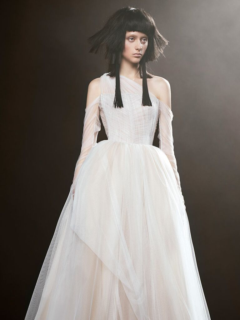 Vera wang spring 2018 collection bridal fashion week photos vera wang spring 2018 french tulle ball gown wedding dress with off the shoulder spiral draped junglespirit Images