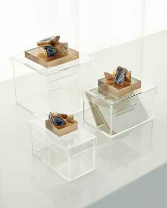 Acrylic card boxes from Neiman Marcus