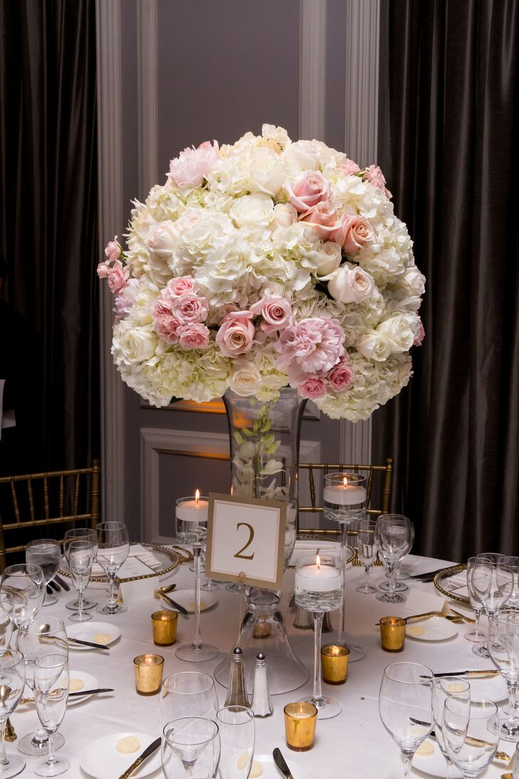 Tall peony rose and hydrangea centerpiece