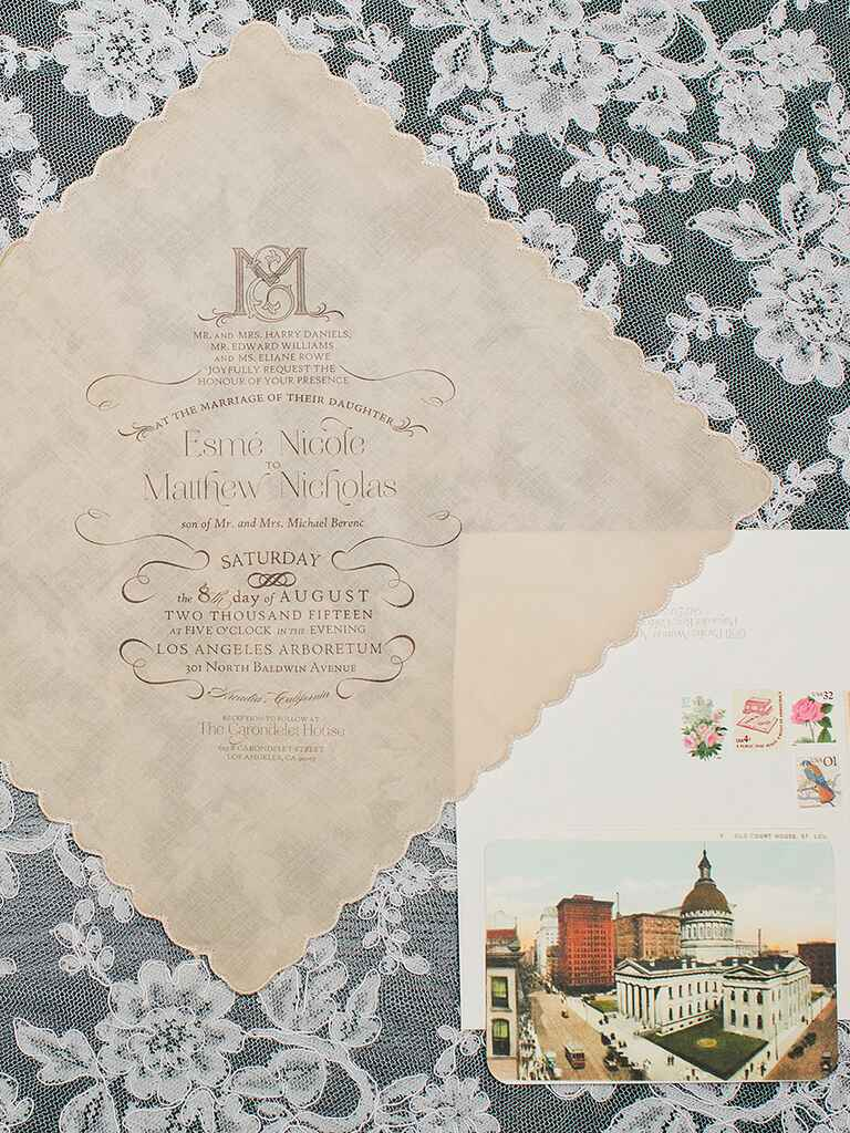 Vintage wedding invitation on a handkerchief