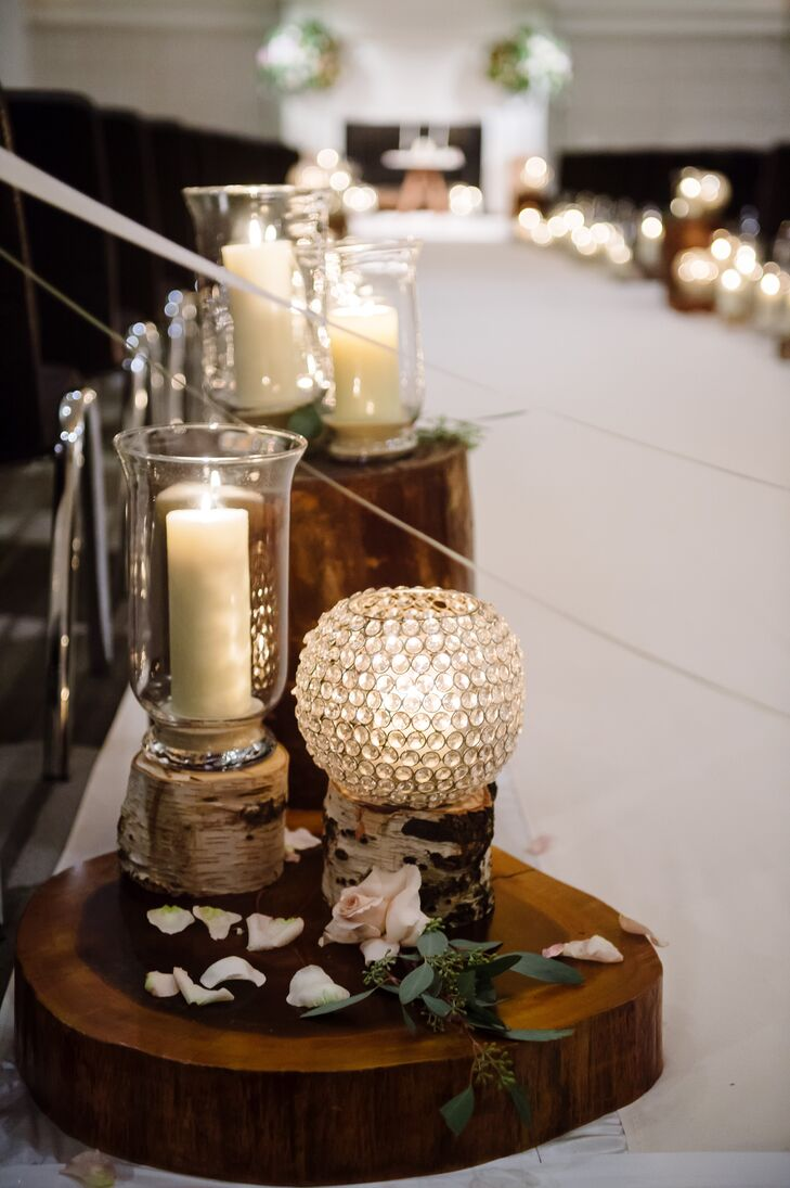 Rustic Birch Candle Holders and Wood Pedestals